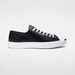 Converse Shoes - Black leather jack Purcell's